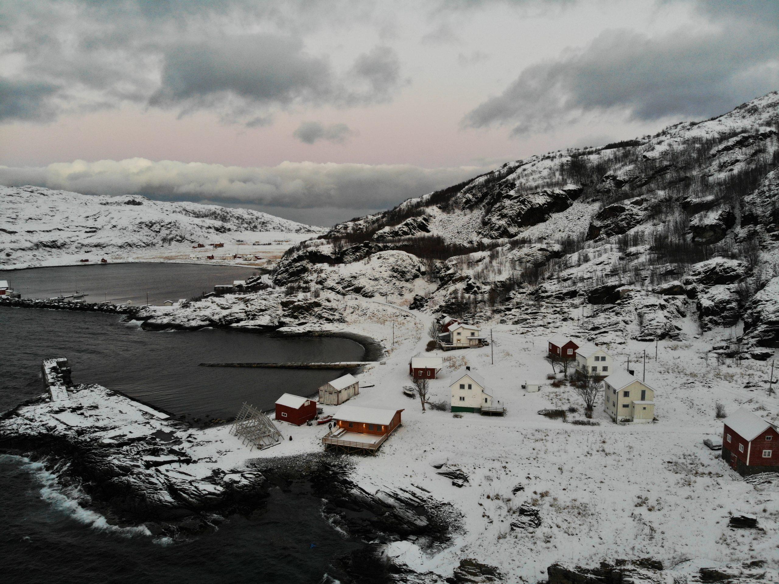 village norway drone snow mountains arctic